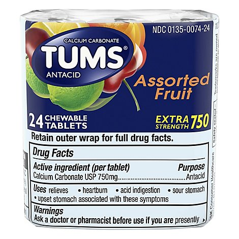 Tums Antacid Tablets Chewable Extra Strength 750 Assorted Fruit - 24 Count