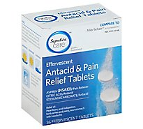 Signature Care Antacid & Pain Relief Effervescent Tablets - 36 Count