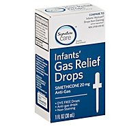 Signature Care Gas Relief Drops Infant Simethicone 20mg Dye Free No Staining - 1 Fl. Oz.