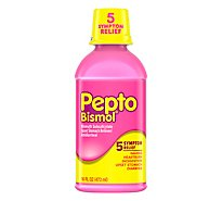 Pepto-Bismol Upset Stomach Reliever 5 Symptom Digestive Relief Liquid Original - 16 Fl. Oz.