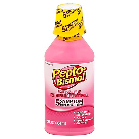 Pepto-Bismol 5 Symptom Relief Anti Diarrhea Liquid Syrup - 12 Fl. Oz.