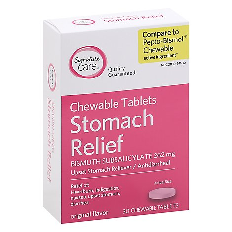 Signature Care Upset Stomach Relief Bismuth Subsalicylate 262mg Chewable Tablet - 30 Count