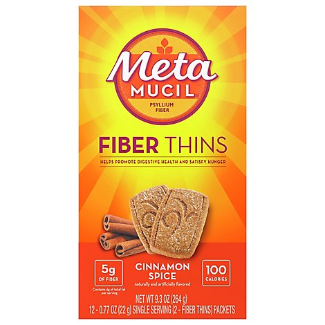 Metamucil Fiber Supplement Fiber Thins Cinnamon Spice - 12-0.77 Oz
