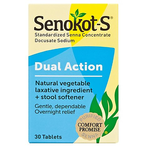 Senokot-S Tablets Laxative Natural Vegetable Plus Stool Softener - 30 Count