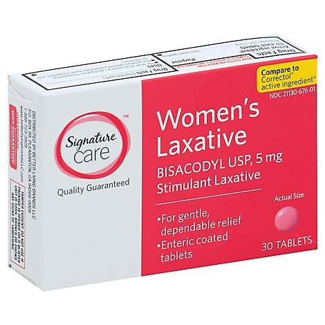 Signature Care Laxative Womens Bisacodyl USP 5mg Enteric Coated Tablet - 30 Count