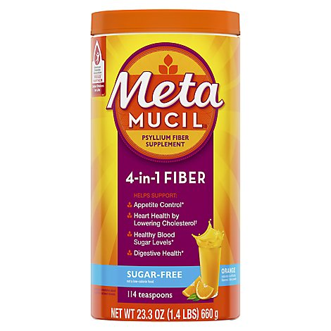 Metamucil Fiber Supplement 4 In 1 MultiHealth Powder Orange Sugar Free - 23.3 Oz