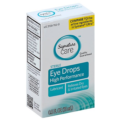 Signature Care Eye Drops High Performance Dry & Irritated Eye Relief Lubricant - 0.5 Fl. Oz.