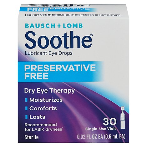 Bausch + Lomb Soothe Long Lasting Preservative Free Eye Drops - 28 Count