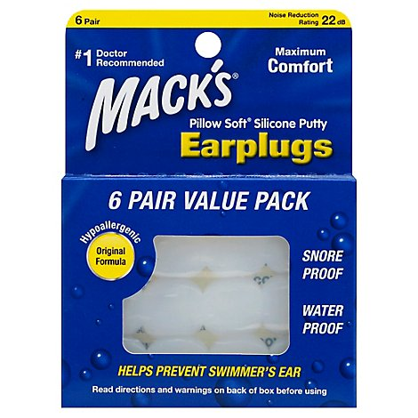 Macks Earplugs Pillow Soft Silicone Putty - 6 Count