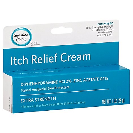Signature Care Cream Itch Relief Topical Analgesic Skin Protectant Extra Strength - 1 Oz