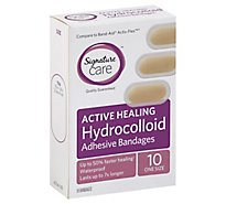 Signature Care Adhesive Bandages Hydrocolloid Active Healing One Size - 10 Count