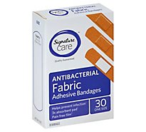 Signature Care Adhesive Bandages Fabric Antibacterial One Size - 30 Count