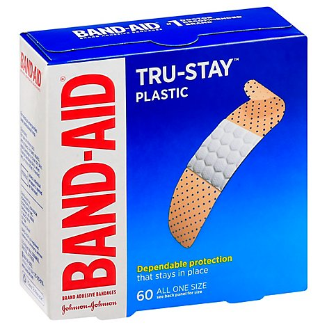 BAND-AID Brand Adhesive Bandages Plastic Strips All One Size - 60 Count
