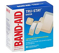 Band-Aid Adhesive Bandages Sheer Strips Assorted Sizes - 80 Count