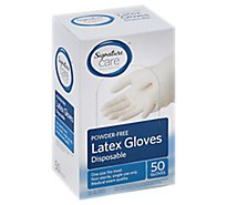 Signature Care Gloves Latex Disposable Powder Free One Size - 50 Count