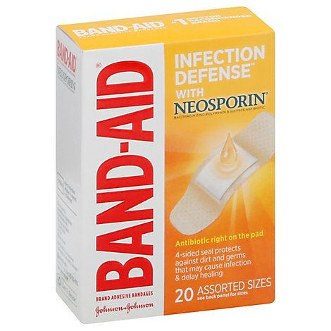 BAND-AID Brand Adhesive Bandages Plus Antibiotic Assorted Sizes - 20 Count