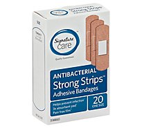 Signature Care Adhesive Bandages Strong Strips Antibacterial One Size - 20 Count