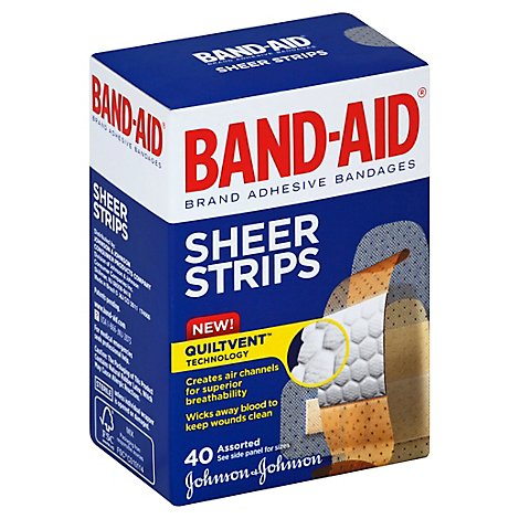 Band-Aid Adhesive Bandages Comfort Flex Sheer Assorted - 40 Count
