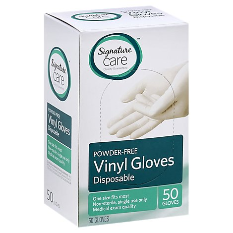 Signature Care Gloves Vinyl Disposable Powder Free One Size - 50 Count