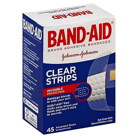BAND-AID Brand Adhesive Bandages Comfort Flex Clear Assorted Sizes - 45 Count