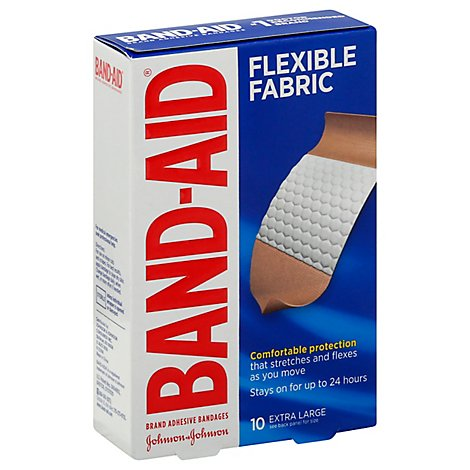 BAND-AID Brand Adhesive Bandages Flexible Fabric Extra Large Memory Weave Fabric - 10 Count