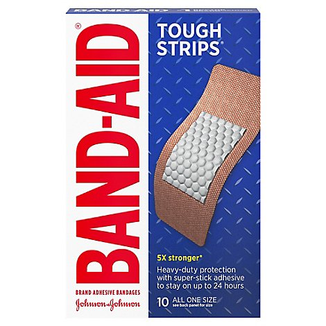 BAND-AID Brand Adhesive Bandages Tough Strips Extra Large - 10 Count
