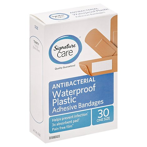 Signature Care Adhesive Bandages Waterproof Plastic Antibacterial One Size - 30 Count