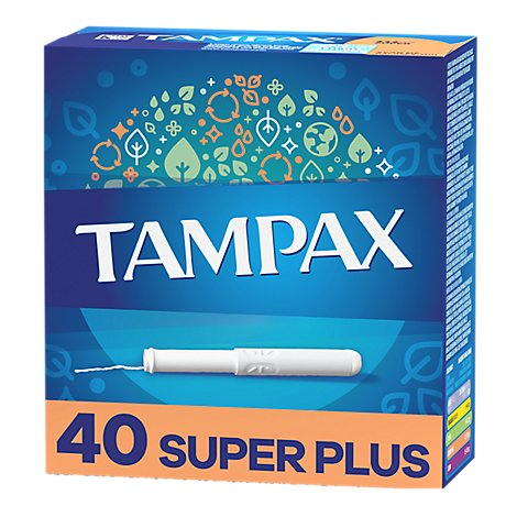 Tampax Tampons Cardboard Super Plus Absorbency Unscented - 40 Count