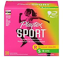 Playtex Sport Tampons Plastic Unscented Regular & Super Absorbency Multipack - 36 Count
