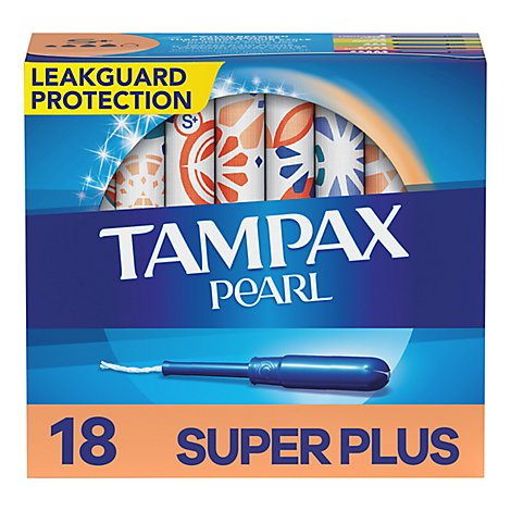Tampax Pearl Tampons Plastic Super Plus Absorbency Unscented - 18 Count