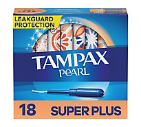 Tampax Pearl Tampons With LeakGuard Plastic Super Plus Absorbency Unscented - 18 Count