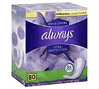 Always Daily Liners Xtra Protection Long Unscented - 80 Count
