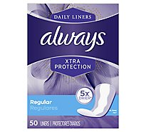 Always Liners Daily Xtra Protection Regular Unscented - 50 Count
