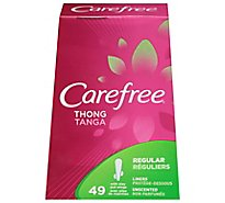 Carefree Thong Pantiliners With Wings Regular Unscented - 49 Count