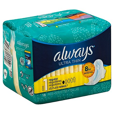 Always Pads Ultra Thin Size 1 Regular Pads With Wings Unscented - 18 Count