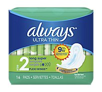 Always Pads Ultra Thin Flexi-Wings Long Super - 16 Count