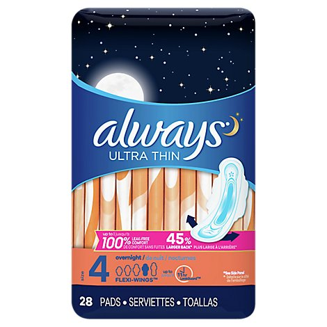 Always Pads Ultra Thin Flexi-Wings Overnight - 28 Count