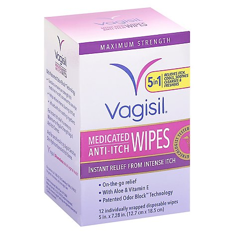 Vagisil Anti Itch Medicated Wipes Maximum Strength - 12 Count