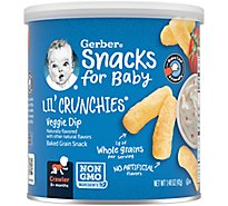 Gerber Graduates Lil Crunchies Corn Snack Baked Whole Grain Veggie Dip - 1.48 Oz