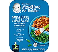 Gerber Baby Food Toddler Pasta Stars In Meat Sauce & Side Green Beans - 6.8 Oz