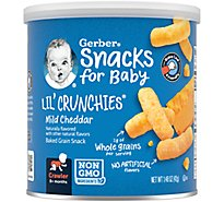 Gerber Graduates Lil Crunchies Corn Snack Baked Whole Grain Mild Cheddar - 1.48 Oz