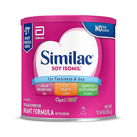 Similac Soy Isomil For Fussiness and Gas Infant Formula With Iron Powder - 12.4 Oz