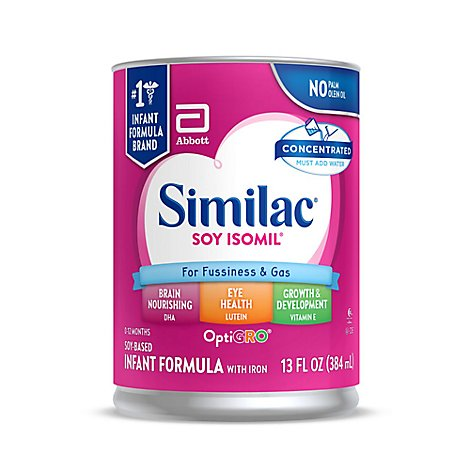 Similac Soy Isomil Infant Formula For Fussiness and Gas With Iron Concentrated Liquid - 13 Fl. Oz.