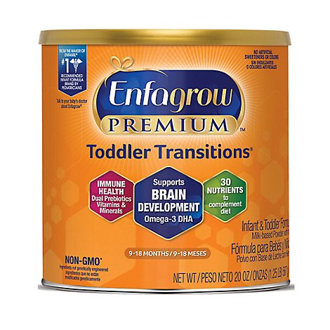 Enfagrow Premium Milk Toddler Transitions Formula Non-GMO Powder Can -20 Oz