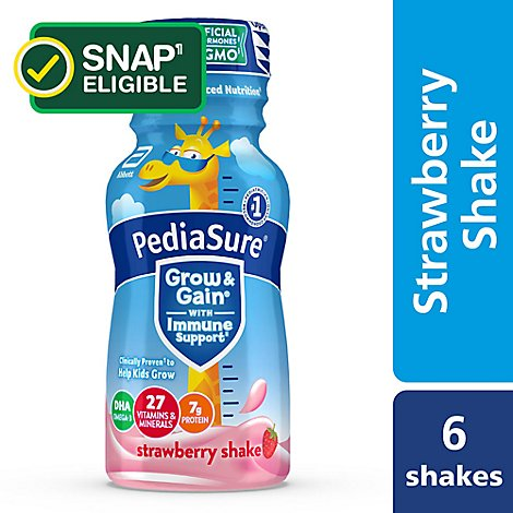 PediaSure Grow & Gain Kids Nutritional Shake Ready To Drink Strawberry - 6-8 Fl. Oz.