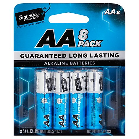 Signature SELECT Batteries Alkaline AA Guaranteed Long Lasting - 8 Count