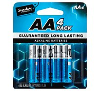 Signature SELECT Batteries Alkaline AA Guaranteed Long Lasting - 4 Count