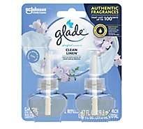 Glade PlugIns Scented Oil Refill Clean Linen Essential Oil Infused Plug In 1.34 oz Pack of 2