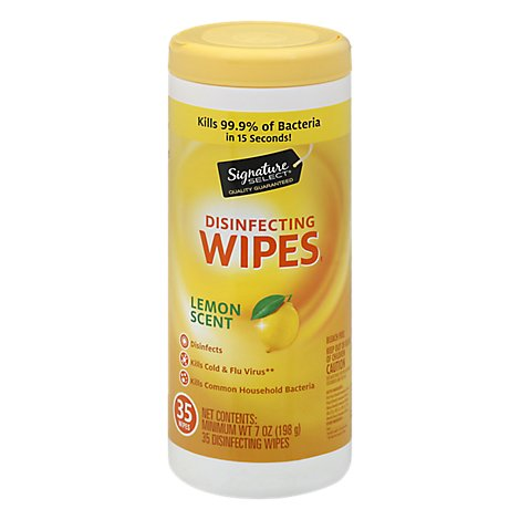 Signature SELECT/Home Disinfecting Wipes Lemon Scent - 35 Count