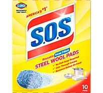 S.O.S Soap Pads Steel Wool Reusable Soap Filled - 10 Count